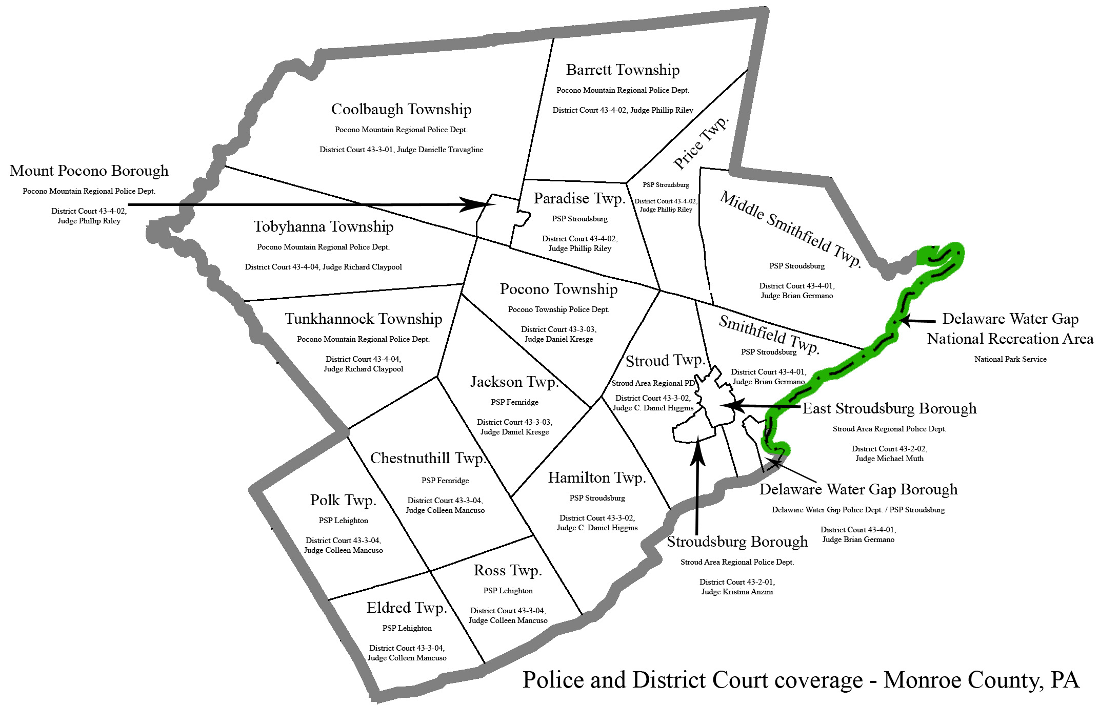Map of Monroe County police and district court jurisdictions